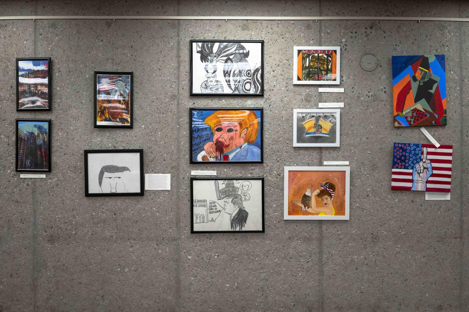 Located between the front desk and Cafe 47 in the library, the Art and Politics Exhibit ranges from race to climate change.