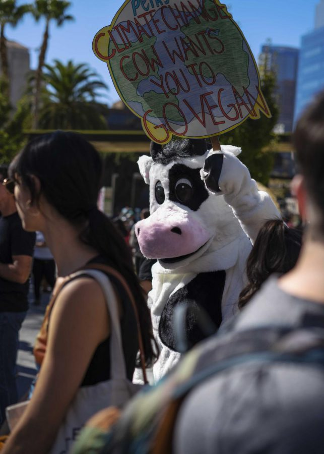 One of many costume wearing protestors participating in the most recent climate strike march around Downtown Los Angeles this past Friday.