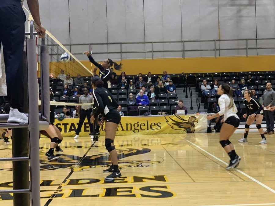 Daisy Crenshaw (6) reaches out and hits the ball over the net.
