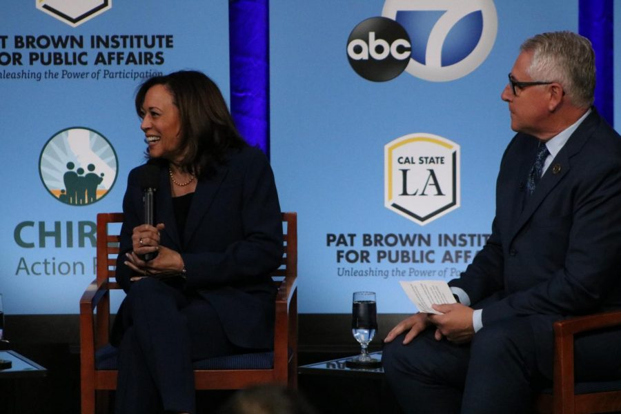 California Senator Kamala Harris discusses recurring topics at the forum including DACA, President Donald Trump, and health care coverage.