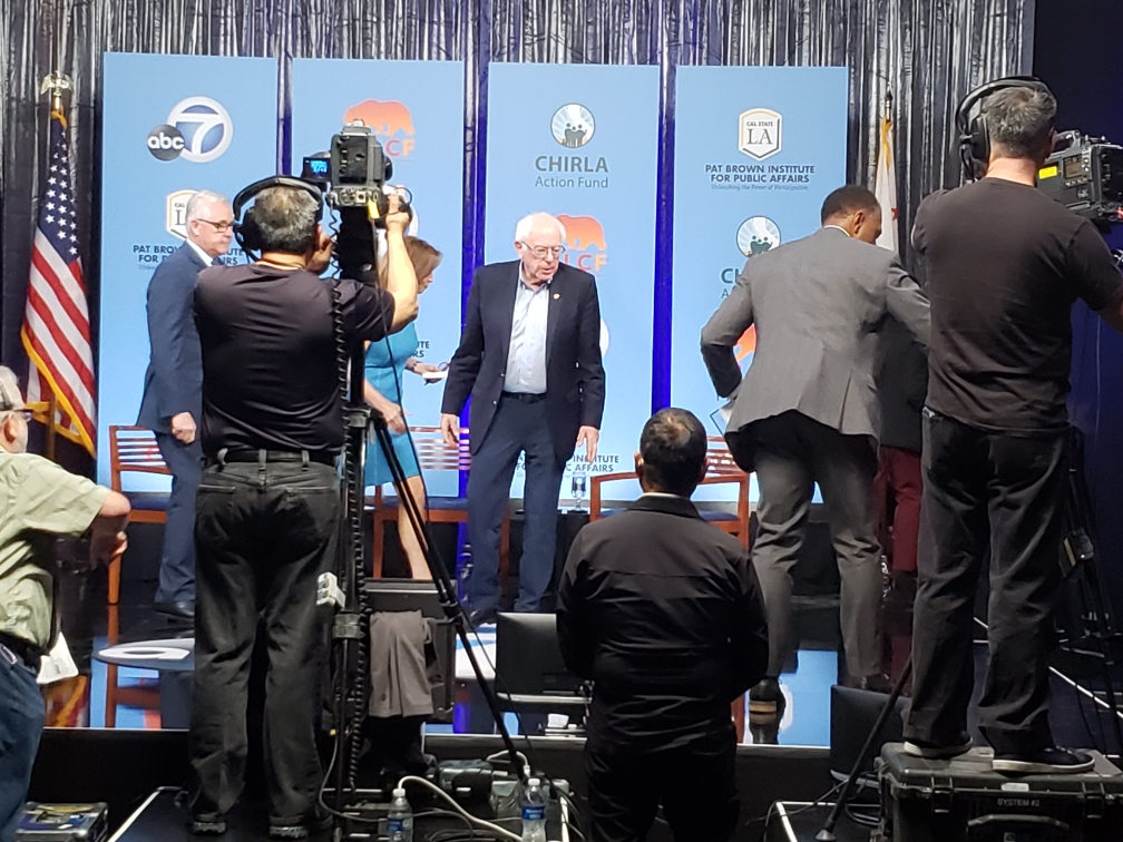 Bernie Sanders finishes up his time at the Democratic forum that focused on Latinx issues at the Cal State LA Luckman theater.