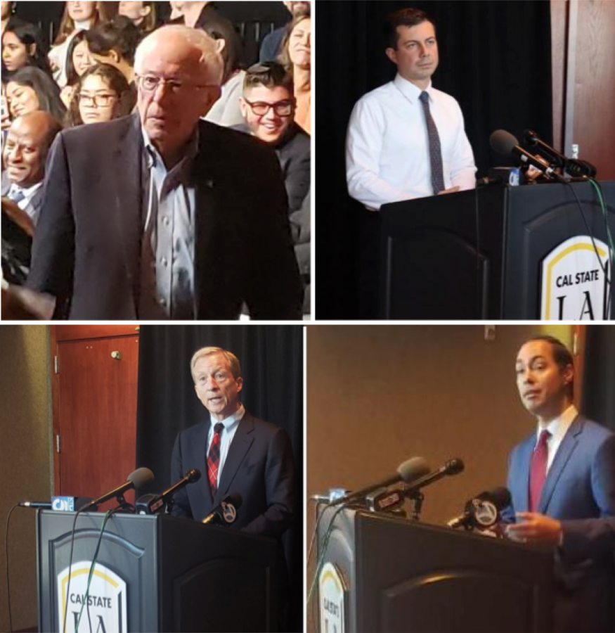 Photos from top left, clockwise: Bernie Sanders by Richard Tzul, Pete Buttigieg by Catherine Valdez, Julian Castro and Tom Steyer by Amairani Hernandez