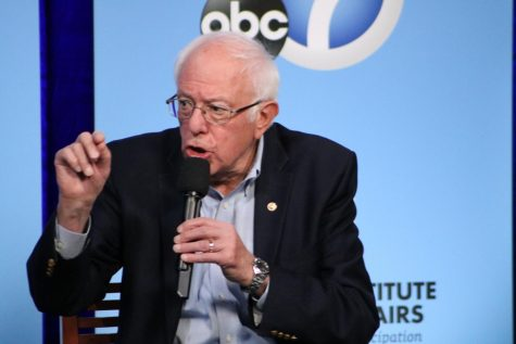 Senator Bernie Sanders is shown talking about issues Latinx voters care about.