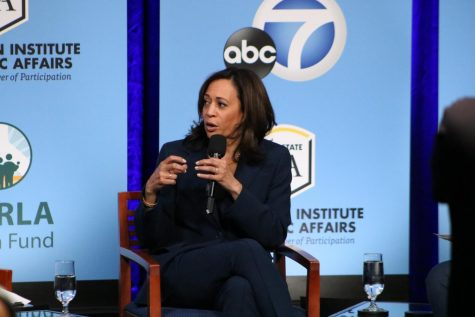 Senator Kamala Harris is shown sharing her views at the presidential candidates forum on campus.