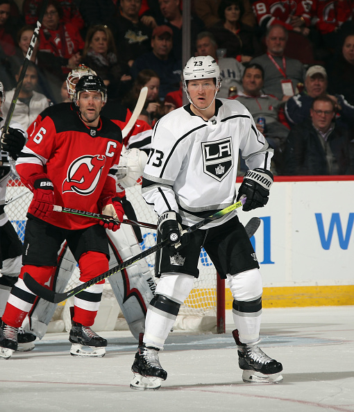 Tyler Toffoli (73) of the Los Angeles Kings skates against the New Jersey Devils. Cal State LA Day 2020 will be hosted on Saturday, Feb. 29 at the STAPLES Center.