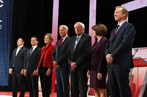 (From left to right) Democratic presidential hopefuls, entrepreneur Andrew Yang, Mayor of South Bend, Indiana Pete Buttigieg, Massachusetts Senator Elizabeth Warren, former Vice President Joe Biden, Vermont Senator Bernie Sanders, Minnesota Senator Amy Klobuchar and businessman Tom Steyer participate in the sixth Democratic primary debate of the 2020 presidential campaign season co-hosted by PBS NewsHour and Politico at Loyola Marymount University in Los Angeles, California on December 19, 2019.