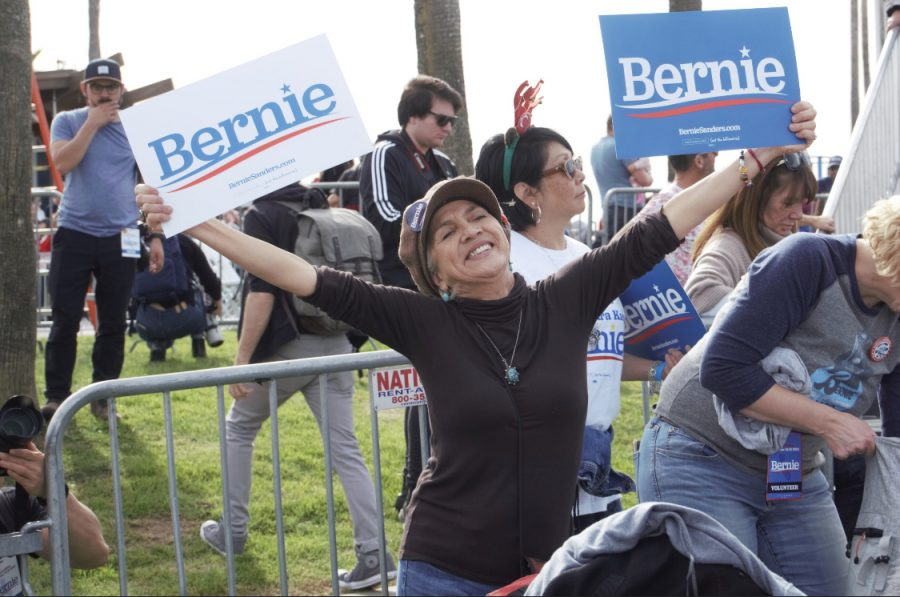 A+Bernie+Sanders+supporter+demonstrating+her+passion+at+the+Venice+rally.+