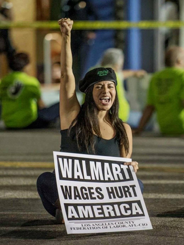 Karla Salazar protests at a local Walmart in 2013. Photo courtesy of Karla Salazar.