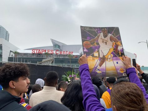 Hundreds of fans gather in front of the Staples Center in LA Live to commemorate Kobe Bryant's passing on January 26, 2020.