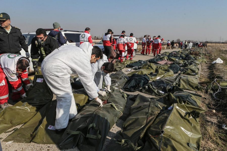 Forensic investigators and rescue workers arrive at the Ukranian plane crash to inspect the bodies.