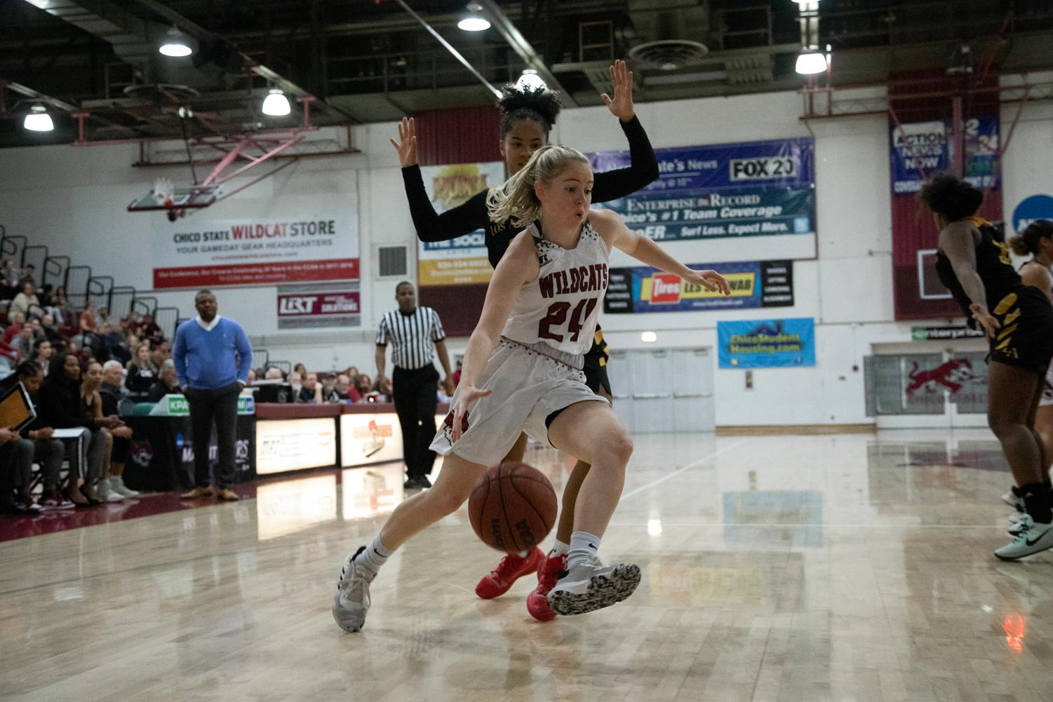 Cal State LA women's basketball team gets defeated by Chico State in a game of 57-69.