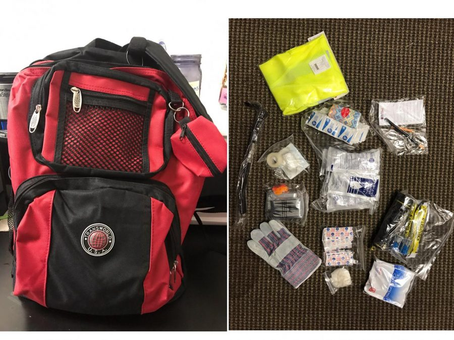 Here is a basic earthquake kit with water, sanitation and hygiene products, work gloves, flashlight, batteries, emergency blankets, whistle, safety vest and a notepad.