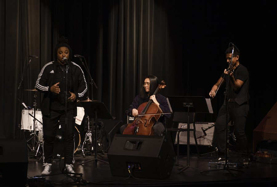 """Performers LiKWUiD (left), JY Lee (middle), and Josh Henderson perform """"Herstory"""" for the Warp Trio."""