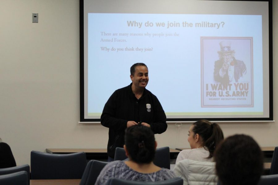 Cesar Gonzalez, director of the Veterans Resource Center, led the seminar with a PowerPoint that informed the participants on military-connected students.