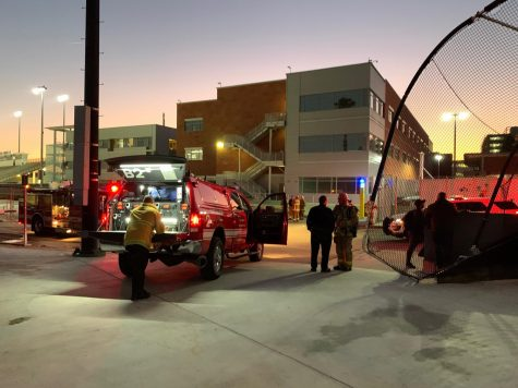 Los Angeles Fire department responds to a possible gas leak at Rosser Hall at Cal State LA on Thurday, Feb. 6.
