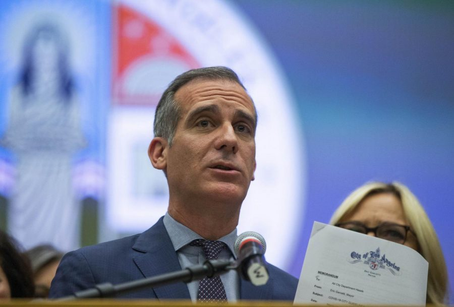 Los+Angeles+mayor%2C+Eric+Garcetti%2C+takes+questions+on+Covid-19+guidelines.+