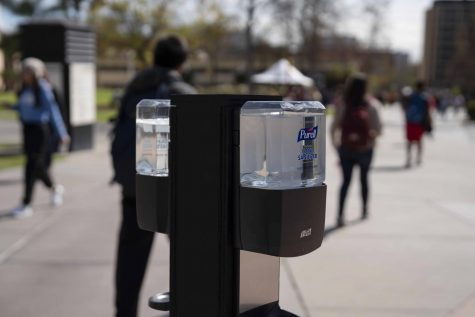 At the start of week 8, hand sanitizer stations arrive all over campus for precautions against Coronavirus