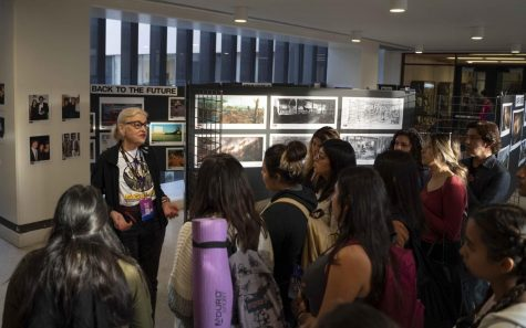 Mimi Gramatky gives a tour of the Arts Directors Guild Exhibition Opening Reception to the TVF science fiction class.