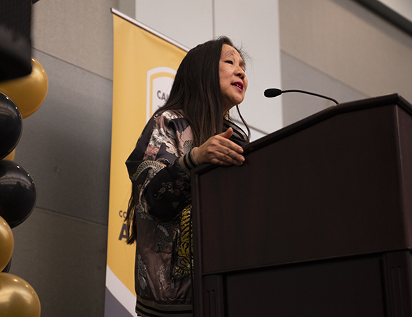 Marilyn Ching shares a backstory on her poetry before reading it.