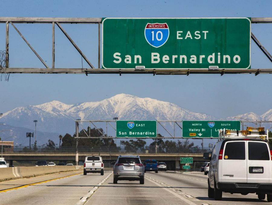 The San Gabriel Mountains shown clearly in the background on the 10 freeway near Cal State LA.