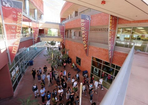 A group of new students get a tour of the Cal State LA campus for orientation.