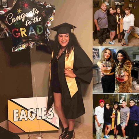 Denae Ayala is shown posing with a congratulations balloon and with family members.