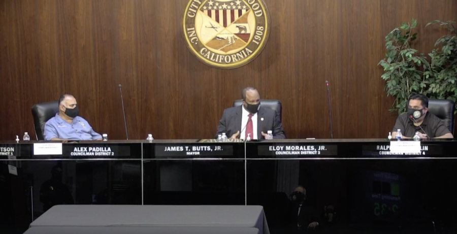 Three city of Inglewood council members sitting at the dais.