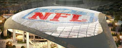An image of a stadium with the NFL letters and logo on top from the city of Inglewood site.