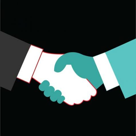 Graphic art of two people shaking hands, one white and one dark green, both appearing to wear business suits.