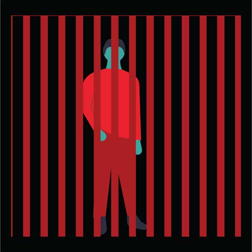 A red and teal illustration of a person behind bars.