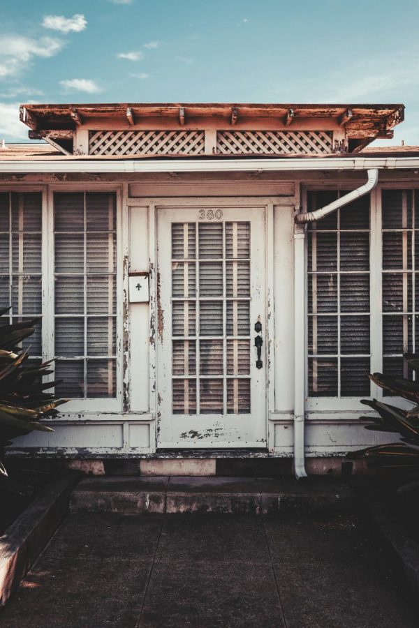 The front door and windows of home in Pismo Beach, California.
