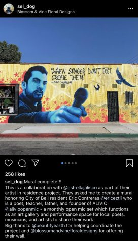 "Screenshot of Marcel ""Sel"" Blanco's Instagram post, courtesy of Mr. Blanco, showcasing the mural he painted for Estrella Jalisco in South Gate. Credit: Tahiti Salinas screenshot of post."