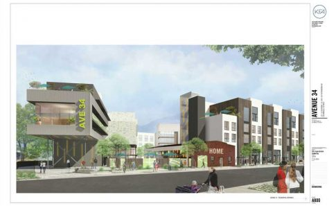 Developers imagine the proposed Avenue 34 project in Lincoln Heights as a lively, mixed-use development. (Illustration courtesy of Lincoln Heights Neighborhood Council)