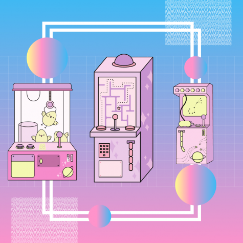 Illustration of three arcade-style video games. Artwork by Rebecca Diaz using Canva
