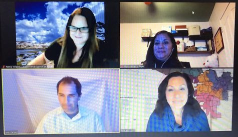 Four individuals who participated in the meeting. Top left (Nancy), Top Right (Mariella), Bottom left (John), Bottom right (Raquel). (Photo Taken by Natalie Alcala)