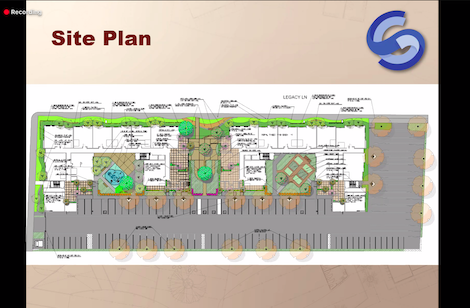 Screenshot of housing presentation demonstrating the site plan for the Legacy Apartments.