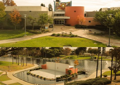 Two shots of the civic center complex with a building on the top and a lake on the bottom.