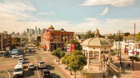 A birds' eye view of Mariachi Plaza, marked by a gazebo-liked structure.