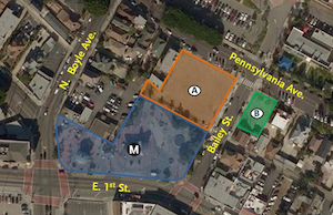 A bird's eye map showing the area where the development will be.