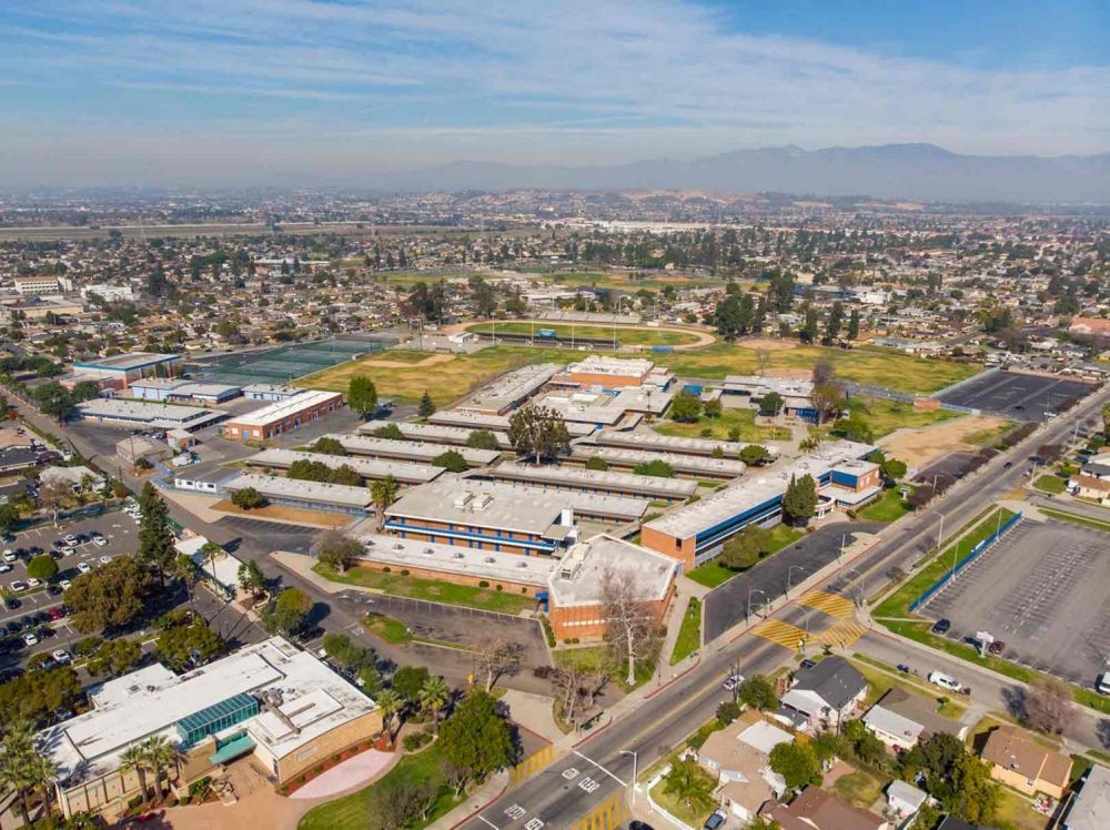 An aerial shot of a school complex