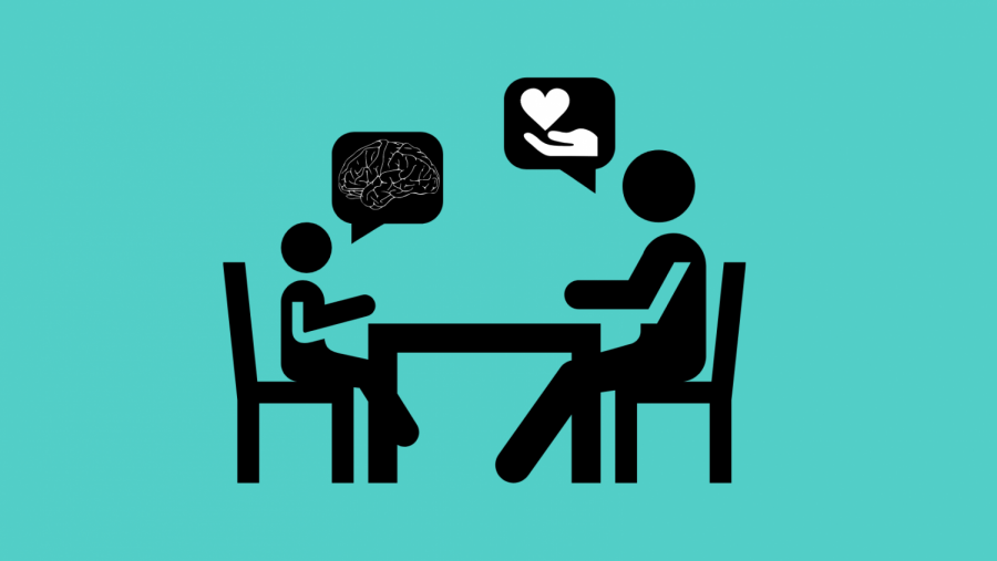 Graphic of two people talking