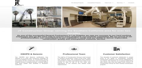 This is a screenshot of a website from JT Construction that shows photos of facilities the company has worked on and has information about its services.
