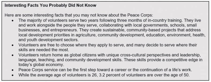 List of facts of peace corps