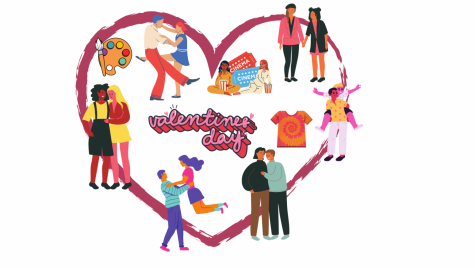 Illustrations of couples celebrating Valentine
