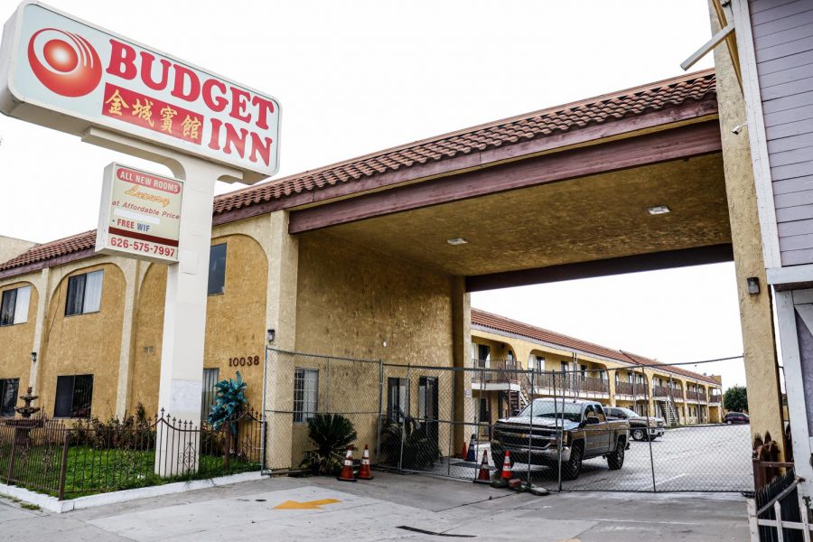 Budget Inn over Valley Blvd. in El Monte is blocked off due to its remodeling. Photo Credit-Ronald Cruz, UT Community News Reporter