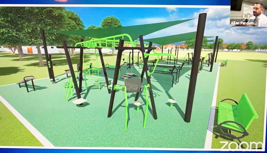 bright green playground equipment