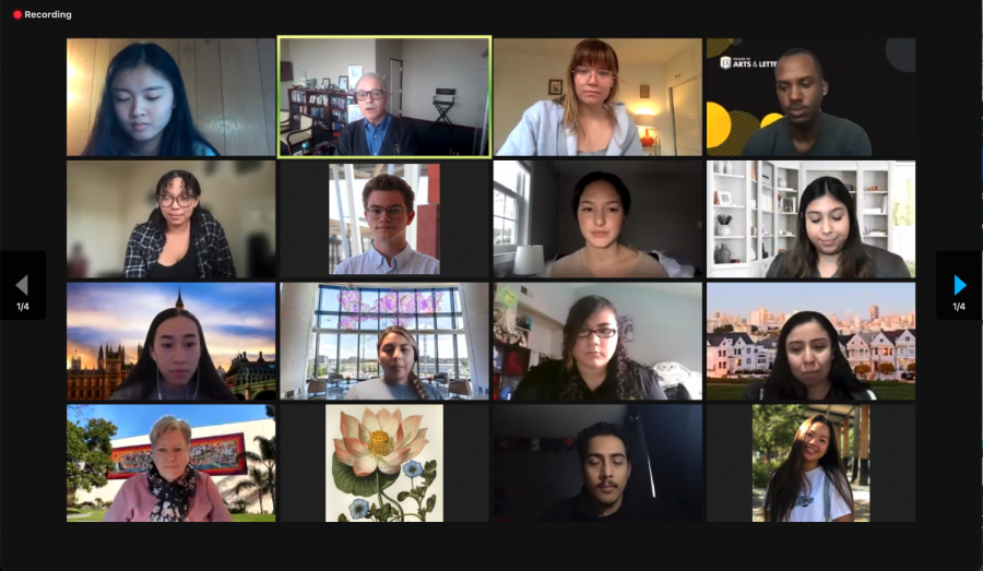 A+screenshot+of+the+recent+virtual+Associated+Students+Incorporated%2C+Board+of+Directors+meeting.+President+Covino+and+others+are+on+screen.