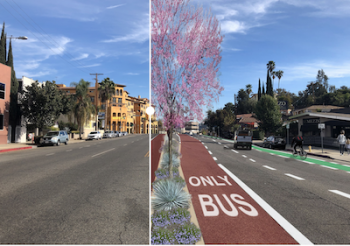 Photo on the left of an existing stretch of Colorado Blvd. and a redesigned graphic on the right of a revived Color