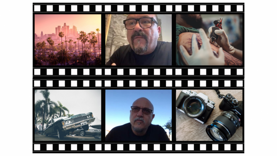 Collage of six photos;A person getting a tattoo, L.A skyline, Mister Cartoon, Estevan Oriol, a camera and a lowrider.