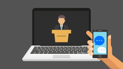 Illustration of virtual lecture and of a hand holding up a cellphone with an active group chat.